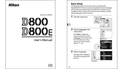 Nikon D800, manuale