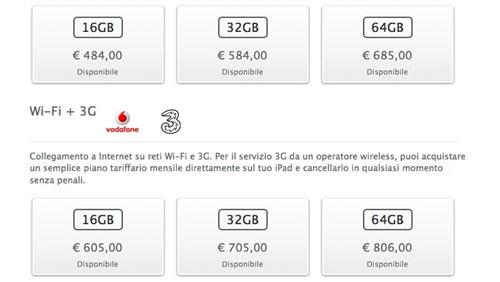 Prezzi iPad 2