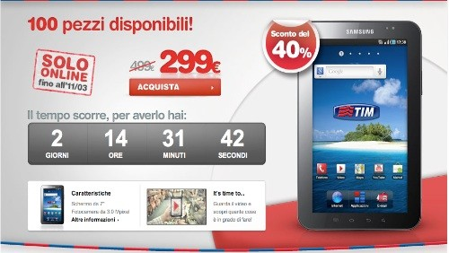 tim, samsung galaxy tab in offerta a 299€