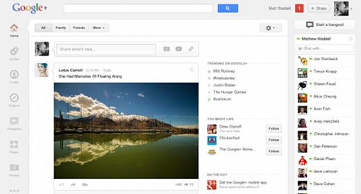 Google+, restyling