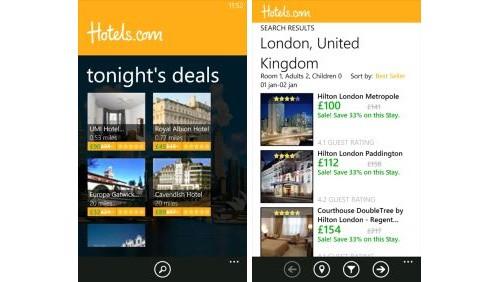Hotels.com Windows Phone