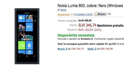 amazon, nokia lumia 800 a 346 euro e nokia lumia 710 a 249 euro