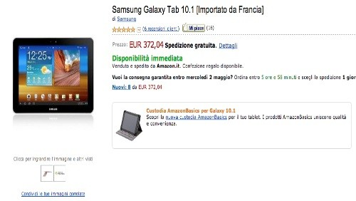 Amazon Italia: Samsung Galaxy Tab 10.1 a 372 Euro e Galaxy Tab 8.9 a 347 euro