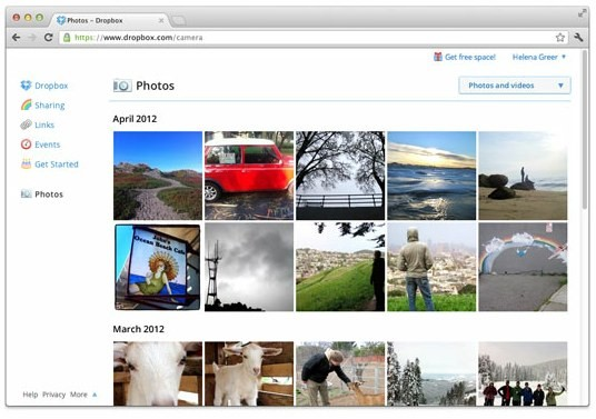 Interfaccia Dropbox Photo
