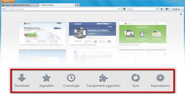Firefox 13, tab e menu