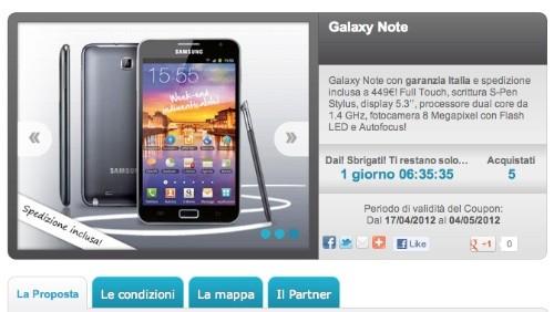 groupalia, samsung galaxy note a 449€