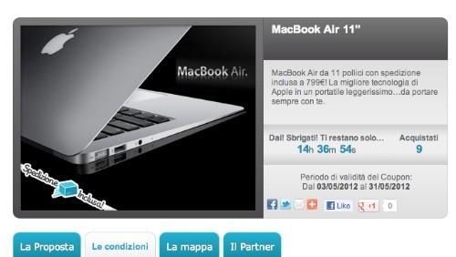 Groupalia: Apple MacBook Air a 799 euro