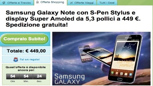 groupon, samsung galaxy note a 449€