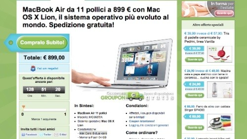 groupon, apple macbook air a 899 euro
