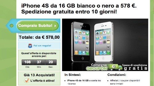 groupon, iphone 4s 16 gb a 578 euro