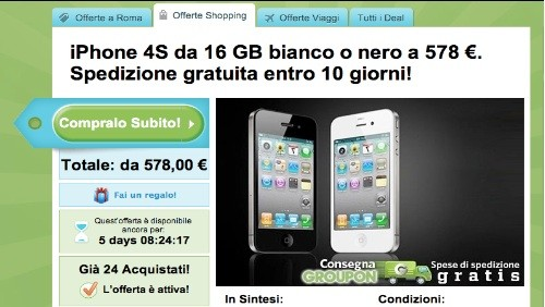 Groupon, Apple iPhone 4S 16 GB a 578 euro