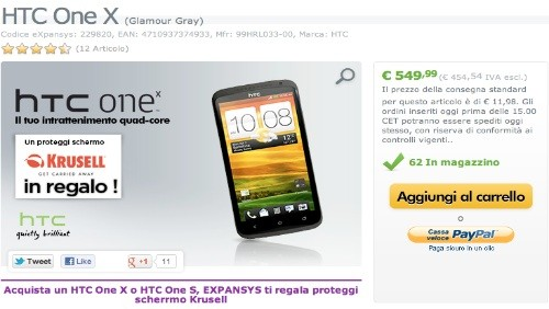 HTC One X a 549 euro da Expansys.it