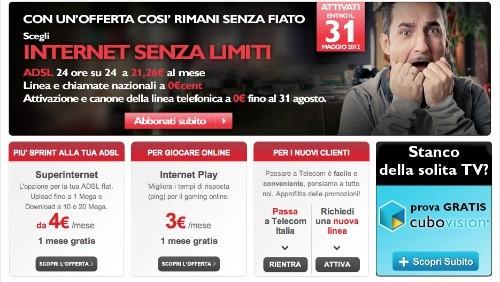 telecom italia, internet senza limiti a 21,26 euro al mese