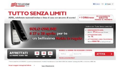 Telecom Italia: canone scontato per 12 mesi e cellulare nokia in regalo a chi attiverà Tutto Senza Limiti