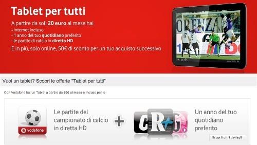 vodafone, promozione tablet per tutti