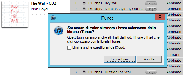 iTunes Match: cancellare canzoni