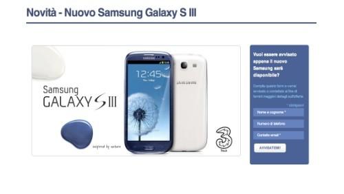 Samsung Galaxy S3 in arrivo con 3 Italia