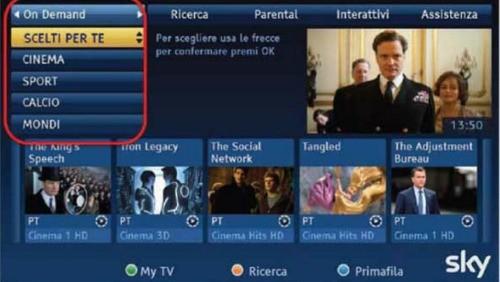 Sky On Demand, l'interfaccia