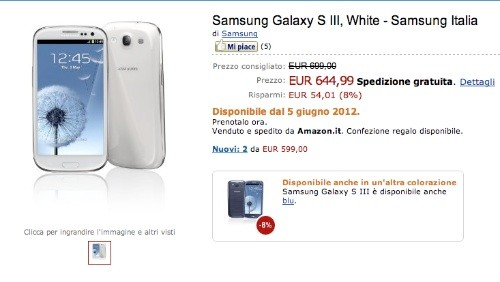 Samsung Galaxy S3 in pre-ordine da Amazon Italia a 644,99 euro