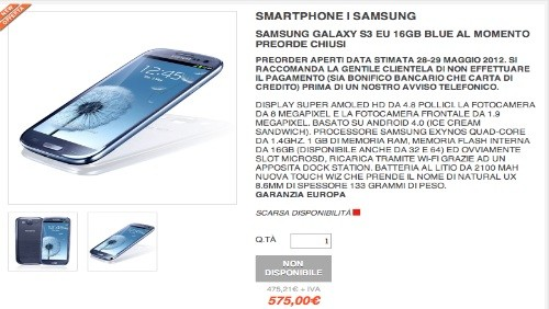 Samsung Galaxy S3 a 575 euro da Computermemory
