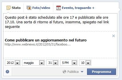 Update su Facebook caricato alle 17 e pubblicato alle 17.10