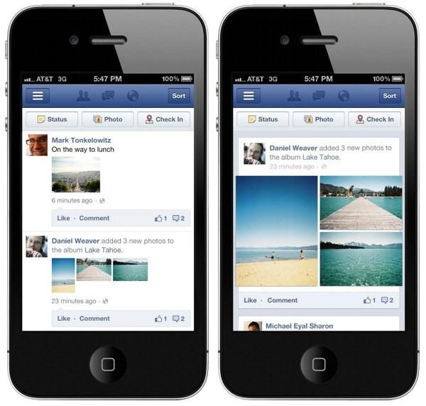 Facebook Mobile, prima e dopo l'update
