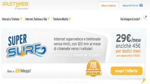 fastweb, promotion surf e super surf