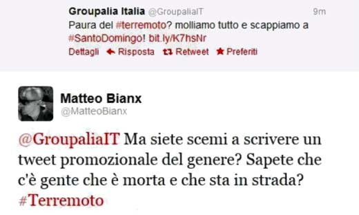 Il tweet di Groupalia