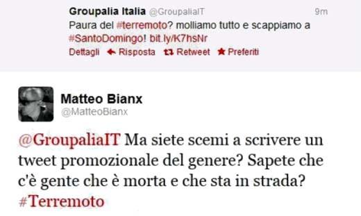 Il tweet di Groupalia