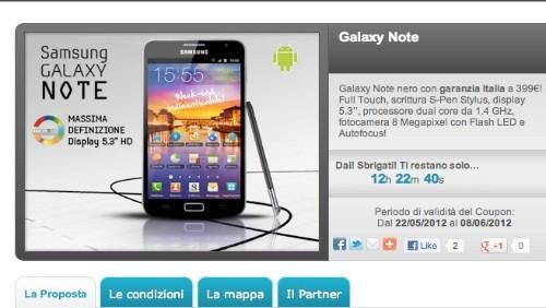 Groupalia: Samsung Galaxy Note a 399 euro