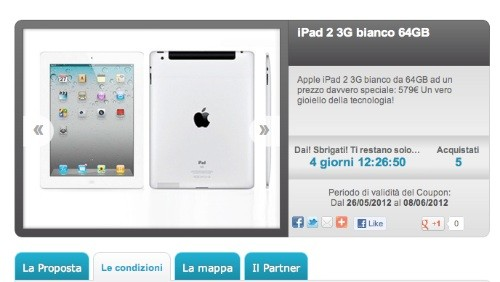 Groupalia: Apple iPad 2 64 GB bianco a 579 euro