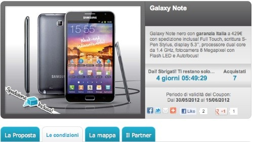 Groupalia: Samsung Galaxy Note a 429 euro
