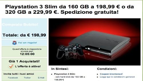 Groupon: Playstation 3 Slim da 160 GB a 198,99 euro o da 320 GB a 229,99 euro