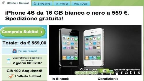 Groupon: Apple iPhone 4S a 559 euro e MacBook Air a 879 euro