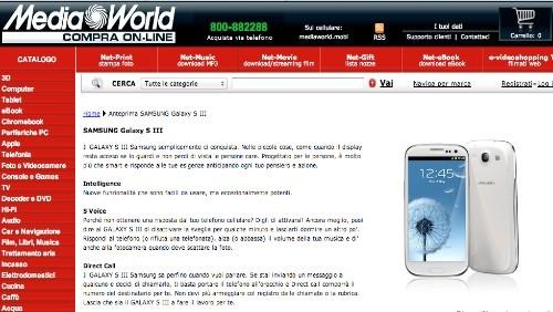 Mediaworld: da fine maggio Samsung Galaxy S3 16 GB a 699 euro