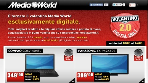 Mediaworld, online il nuovo volantino 2.0 digital only