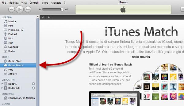 Usare iTunes Match: passo 1