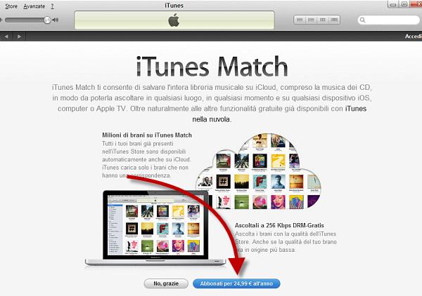 Usare iTunes Match: passo 2