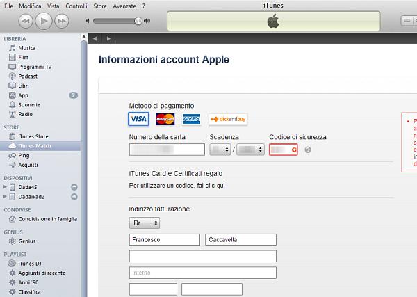 Usare iTunes Match: passo 3
