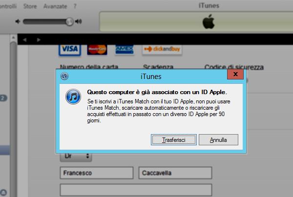 Usare iTunes Match: passo 4