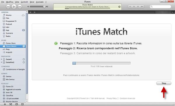 Usare iTunes Match: passo 5