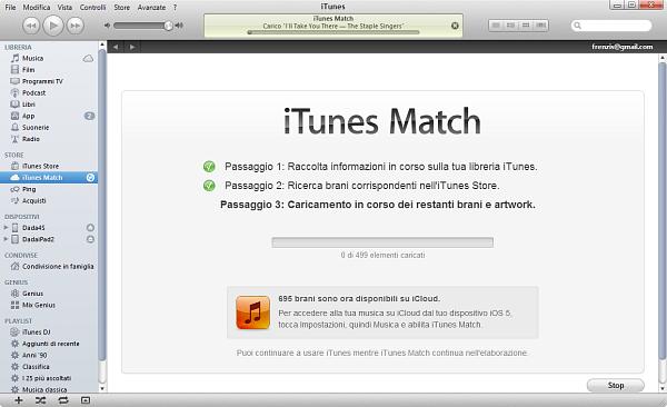 Usare iTunes Match: passo 6