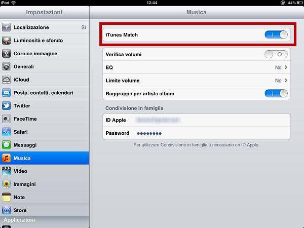 Usare iTunes Match: passo 9