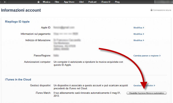 Usare iTunes Match: passo 10
