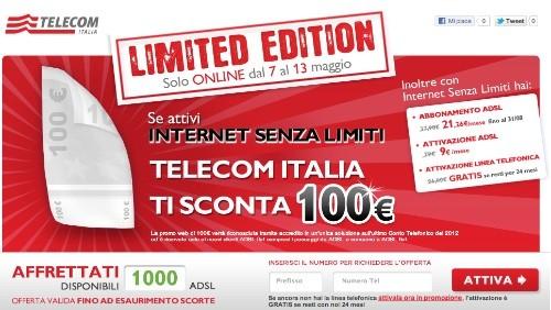 Telecom Italia: 100 euro di sconto per chi si abbona a Internet Senza Limiti