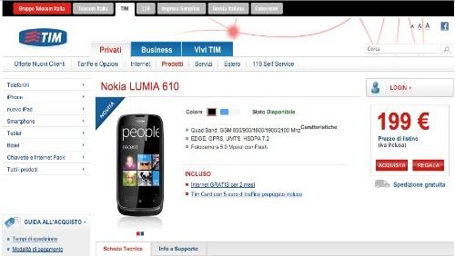 Nokia Lumia 610 entra nel listino di TIM