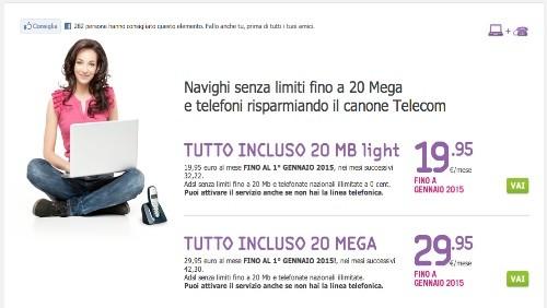 Tiscali promozione gli abbonamenti Tutto Incluso 20 MEGA e Tutto Incluso 20 MEGA Light