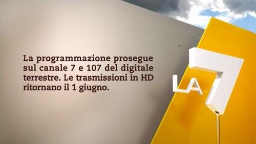 La7 HD, il cartello che annuncia il ritorno