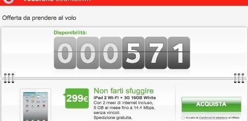 Vodafone Countdown: Apple iPad 2 a 299 euro solo per oggi