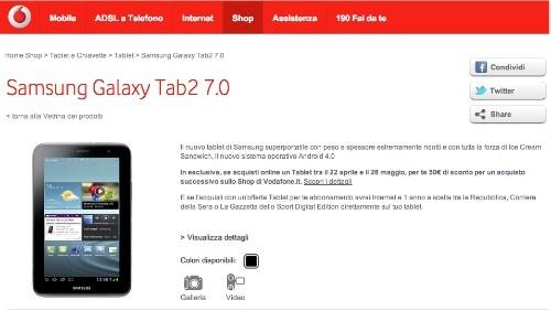 Samsung Galaxy Tab 2 a partire da 20 euro al mese con Vodafone